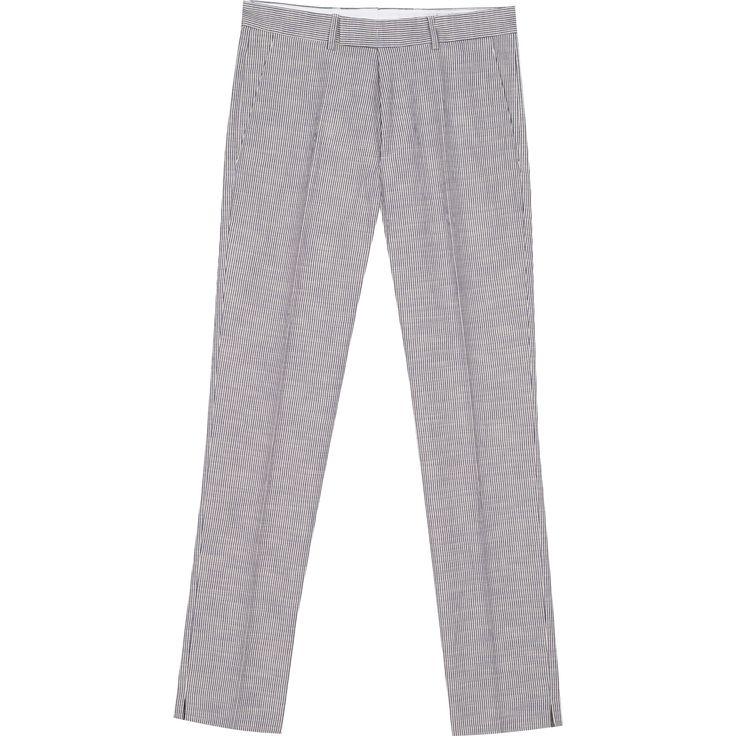 pantalon jamming rayé pantalon rayé en toile de coton et élasthanne, ceinture à passants fermée par bouton et agrafe sous patte décalée.