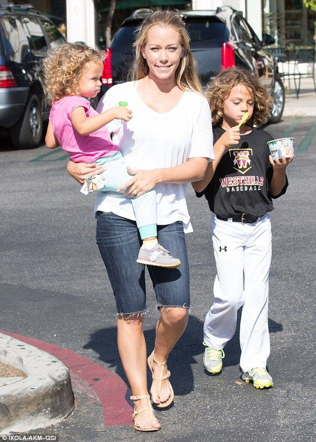 Mommy duties! Kendra Wilkinson was spotted out with her two kids - (L-R) daughter Alijah, ...