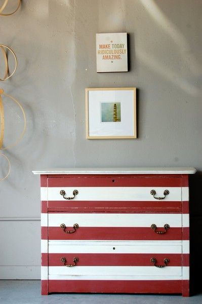 Hand painted red and white striped petite chest inspired by circus tents. Made by Knack Studio on Etsy