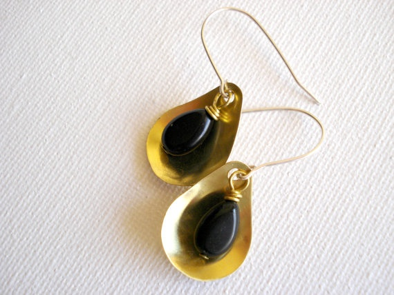 Mixed metal brass and sterling silver teardrop by PenelopeStudio, €22.00