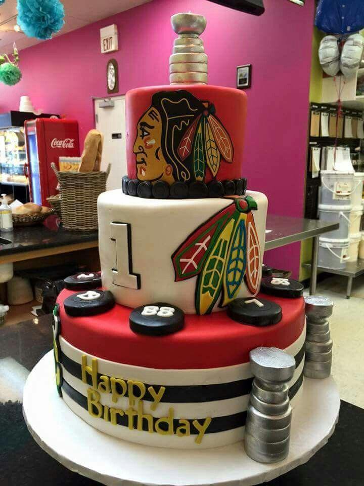 Awesome Chicago Blackhawks hockey cake