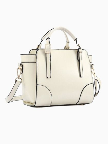 White Structured Winged Cross Body Bag with Buckle Handle