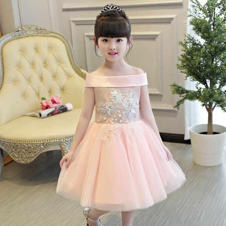 52.66$  Buy here - 2017 New Korean Sweet Girls Children Shoulderless Princess Dress Cute Pink Color Wedding Birthday Pageant Kids Mesh Dresses   #magazineonlinebeautiful