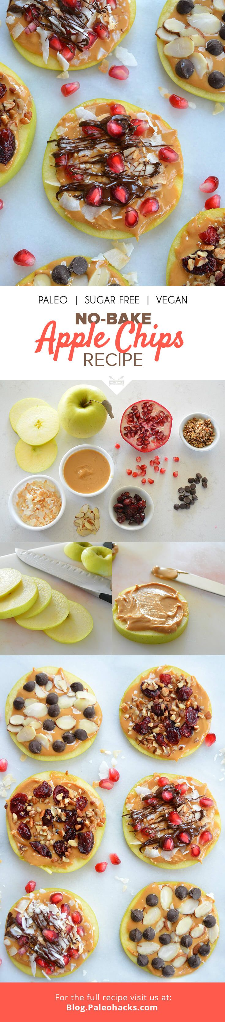 Apple slices get smeared with almond butter and sprinkled with chopped nuts and fruit for a snack that satisfies any craving. These apple chips taste decadent and are packed with fiber and antioxidants. For the full recipe, visit us here: http://paleo.co/applechipsrcp