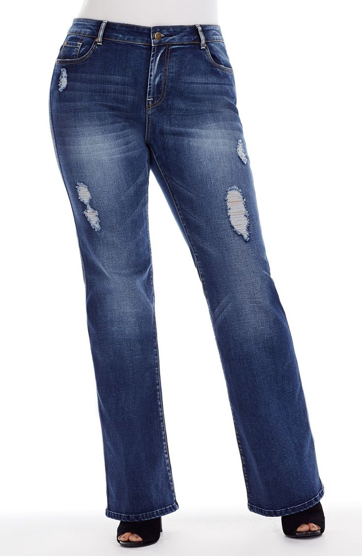 Boot Leg Jean with Leg rips  Style No: J3100 Stretch Denim Boot Leg Jean. This cool Jean features multiple Leg rips. It has 5 pockets and 5 classic jean pockets. #dreamdiva #dreamdivafiles #fashion #plussize