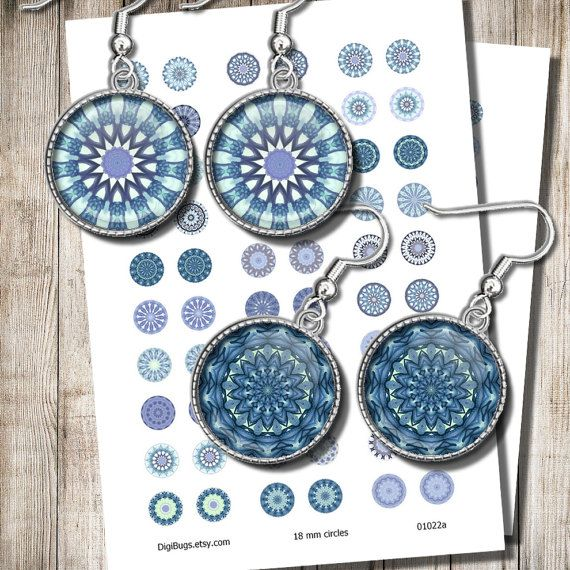 Blue Mandala Circles Digital Collage Sheet Printable Blue