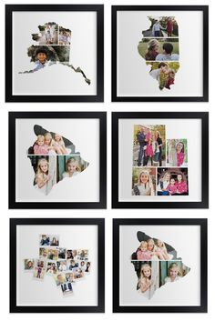 LOVE this gift idea - photos are collaged into state outlines!  Perfect for those who love to travel!