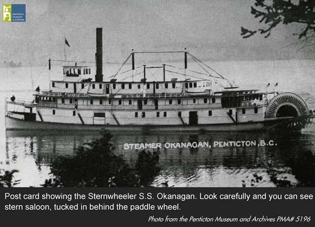 Postcard showing the Stern Wheeler S.S. Okanagan. Look carefully and you can see the stern saloon tucked in behind the paddle wheel - this is the only part of the structure that survives today. You can find it in the SS Sicamous Heritage Park, in Penticton, BC