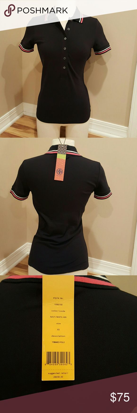 NWT Tory Burch Polo Brand new!! Tory Burch navy Polo stretch fit. Lapels are pink and white stripes and silver tory Burch buttons. Tory Burch Tops Tees - Short Sleeve