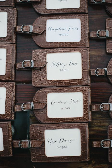 Luggage tags as escort cards (Find your destination) - Winery Wedding from Delbarr Moradi Photography