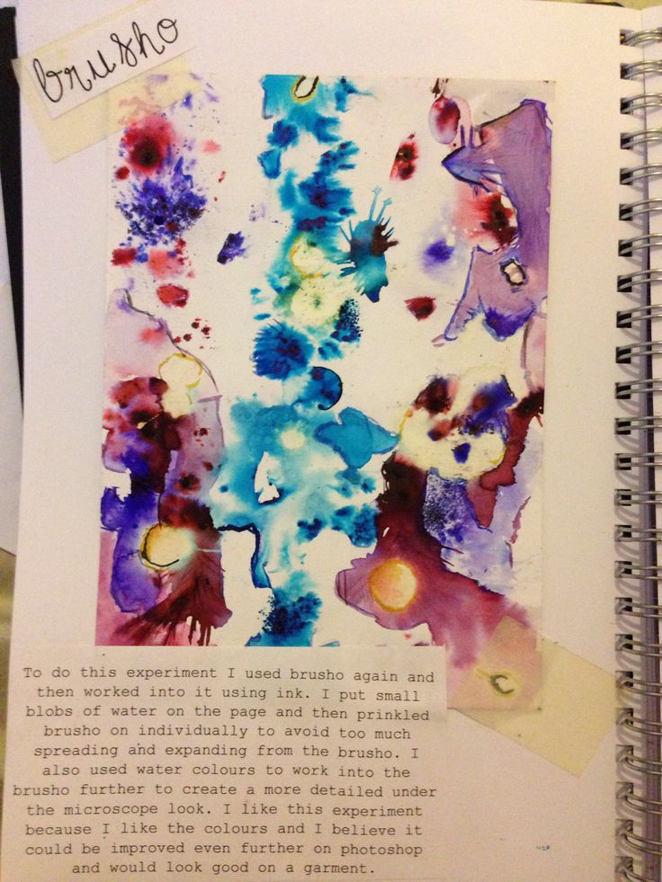 To do this technique i used brusho. I used another pattern as inspiration and painted with the brusho in some parts, and sprinkled the brusho onto the page in other parts. i then used water colour to define the experiment and worked back into it with paint.