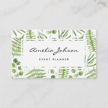 Illustrator Business Card Watercolor Ferns and Eucalyptus Pattern Script Business Card - typography gifts ...