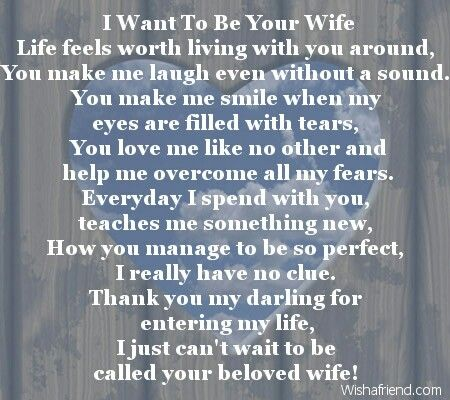 i will be your wife