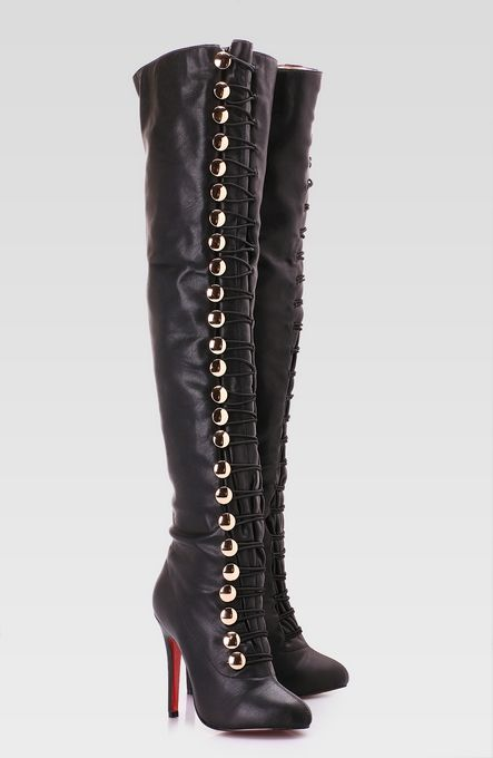 thigh highs | Thigh High Leather Boots Black - Thigh High Leather Boot, Buckle High ...