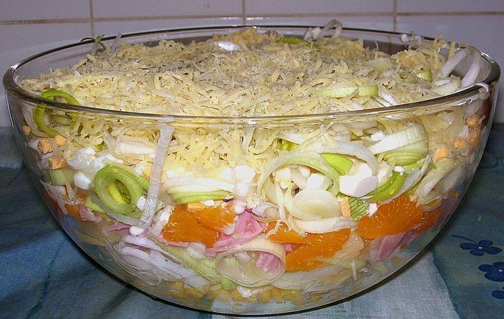 Zutaten    1 Glas Sellerie, in Streifen  1 großer  Apfel, säuerlich  1 Dose Mais  6 Scheibe/n Schinken, gekochter  5 Ei(er)  3 Sta...