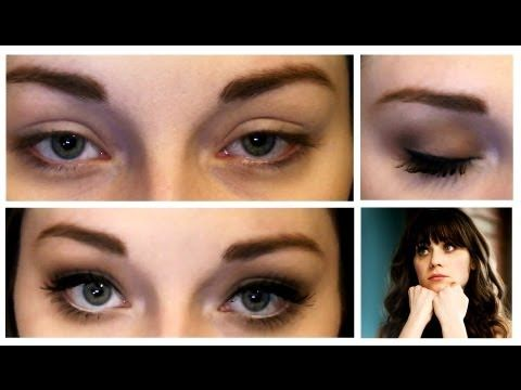 Makeup Tutorial for BIGGER Eyes - Inspired by Zooey Deschanel - YouTube