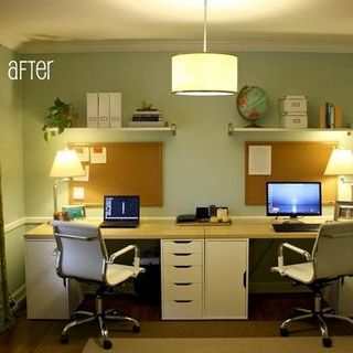 A Dining Room Is Transformed Into a Home Office For Two - www.casasugar.com