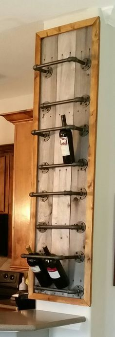 counter to ceiling wine rack with metal pipe