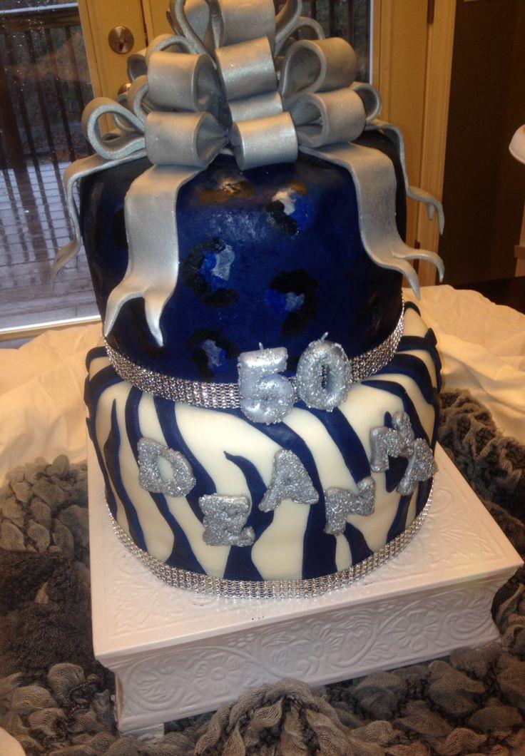 50th Birthday Royal Blue White And Silver Zebra Cake