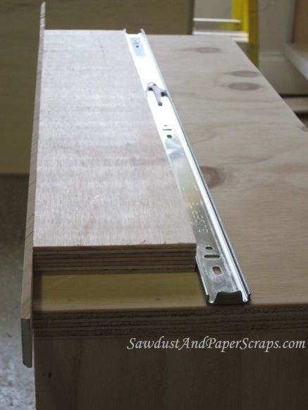Sandra from Sawdust and Paper scraps shows how to install drawer glides perfectly!  Yay, thank you Sandra!