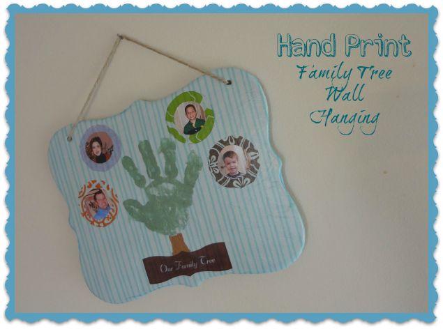 Hand Print Family Tree Wall Hanging #craft for #MothersDay via www.jmanandmillerbug.com