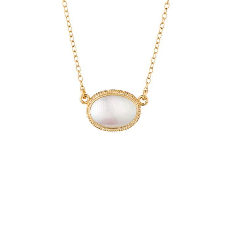 Mother of Pearl Oval Pendant Necklace Anna Beck Fall '14