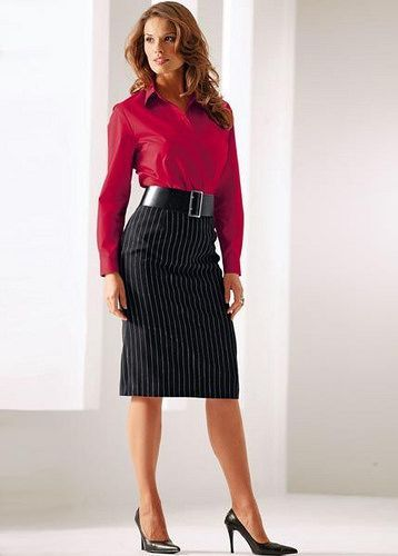Black Pinstripe Pencil Skirt Red Blouse Wide Black Belt
