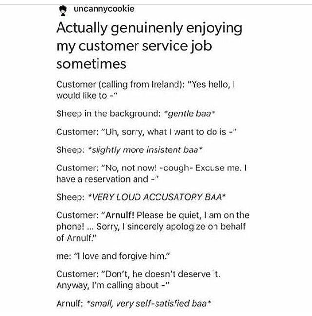 Enjoying a customer service job