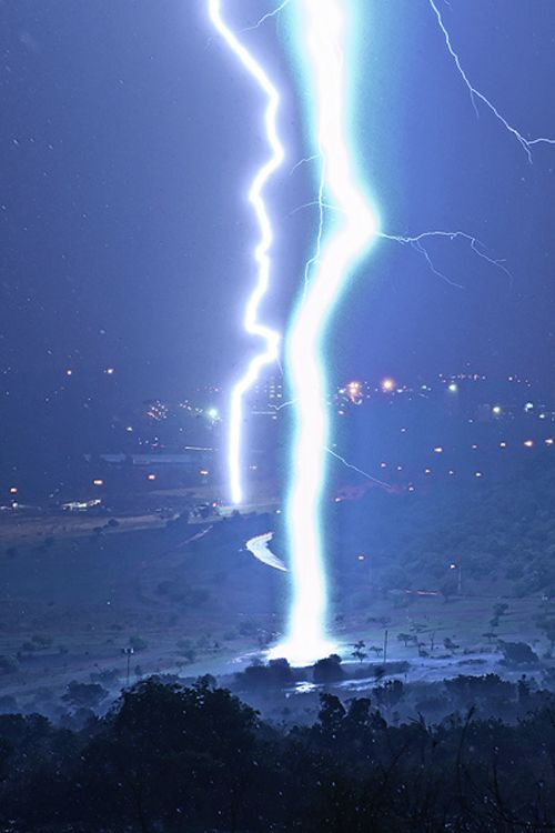 Massive lightning strikes captured over the Voortrekker Monument on the outskirts of Pretoria, South Africa.