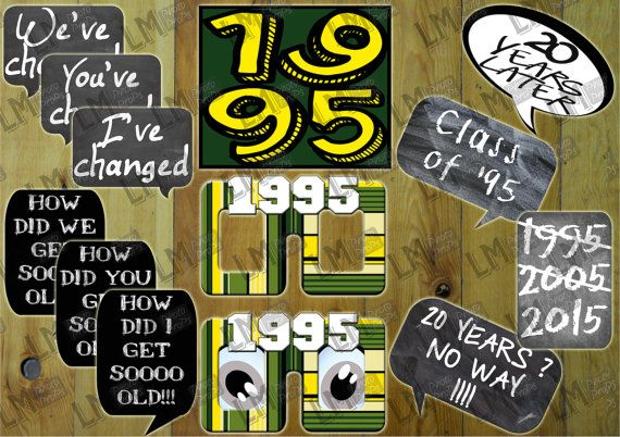 Reunion Photo Props Class of 1995 20 Year Reunion  by LMPhotoProps