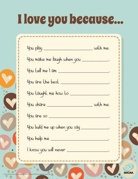 I Love You Because...Great for the kids to do for Mother's or Father's Day {free printable}