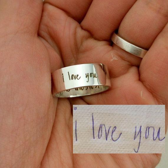 Handwriting Ring Memorial Signature Jewelry Custom by JewelryRB
