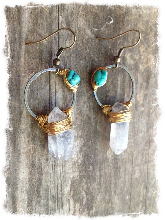 Raw Crystal Earrings Raw Quartz Earrings by DeerGirlDesigns, $40.00