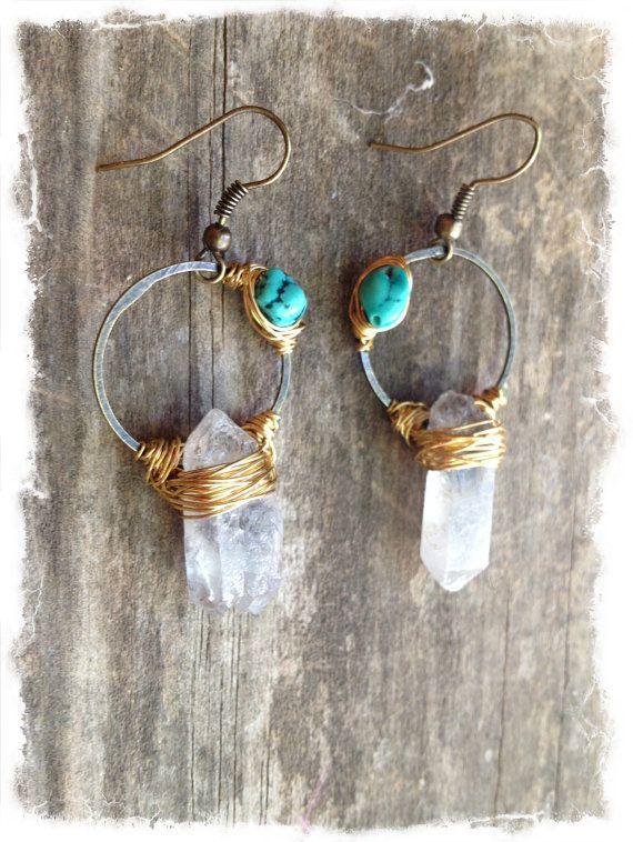 Raw Crystal Earrings Raw Quartz Earrings by DeerGirlDesigns, $40.00