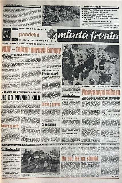 Mladá fronta - Mladá fronta (za 50 haléřů) se 9. října 1989 věnovala odkazu Karpatsko-dukelské operace a oslavám vzniku NDR.