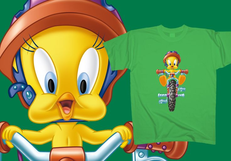 #Tweety is an easy rider like the world has never seen before! Put your helmet on and take a closer look at his skills at www.toonshirts.com/products/looney-tunes/113-tweety-easy-rider