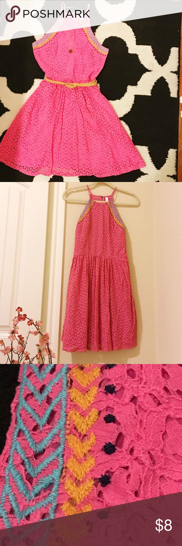 ⚡️Hot Pink Sundress Hot pink sundress from target. Material is pink lace/crochet and there is stitching on the neckline. The shape of the neckline is similar to that of a halter (although this is not a halter). ✨Never worn!✨ Comes to just below mid-thigh. Xhilaration Dresses