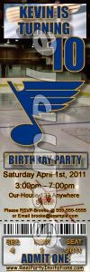 St. Louis Blues Ticket Style Personalized Party Invitations