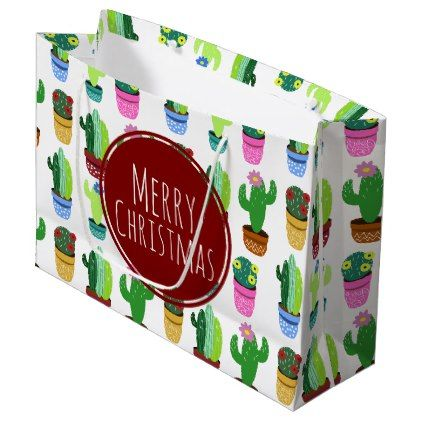 #Merry Christmas Cactus Pattern Large Gift Bag - #Xmas #ChristmasEve Christmas Eve #Christmas #merry #xmas #family #kids #gifts #holidays #Santa