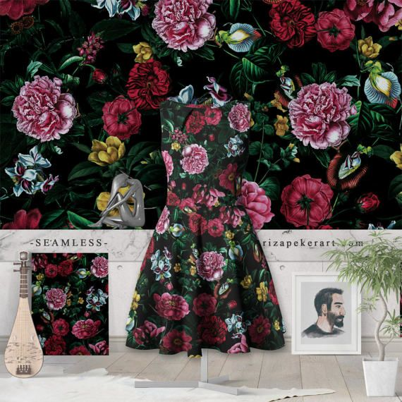 Botanical Garden IX Seamless Pattern  STOCK by rizapekerart #fashion #print #pattern #art