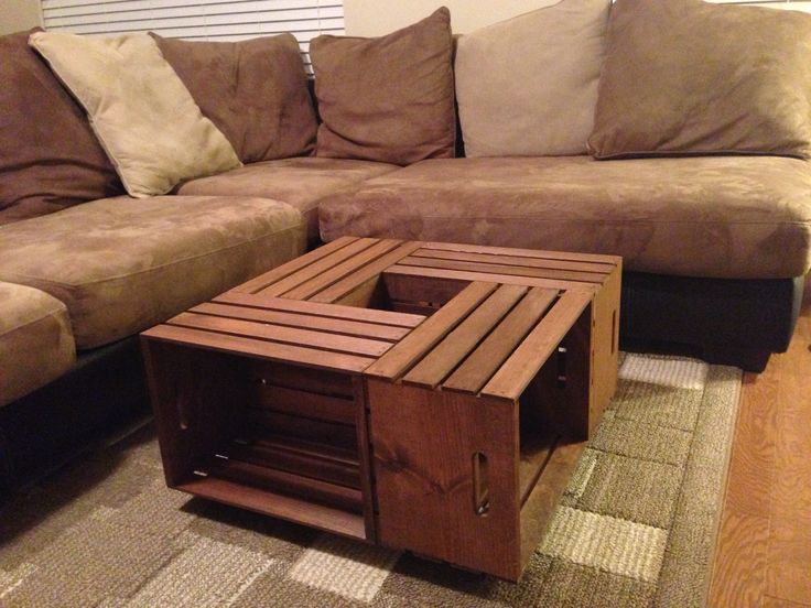 DIY Coffee Table My husband made this coffee table out of apple crates  (from Walmart
