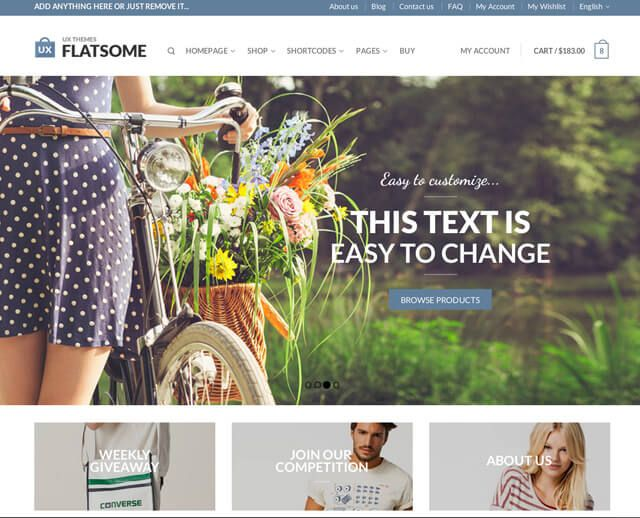 Responsive WooCommerce Theme with incredible User Experience  Flatsome is a beautiful responsive theme inspired by modern eCommerce designs. We're a WooCommerce-only company that loves eCommer...