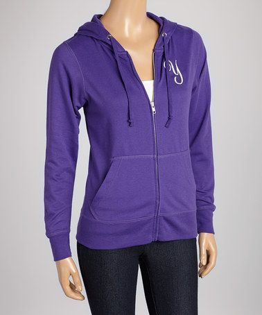 Purple Initial Zip-Up Hoodie - Women #zulily #zulilyfinds