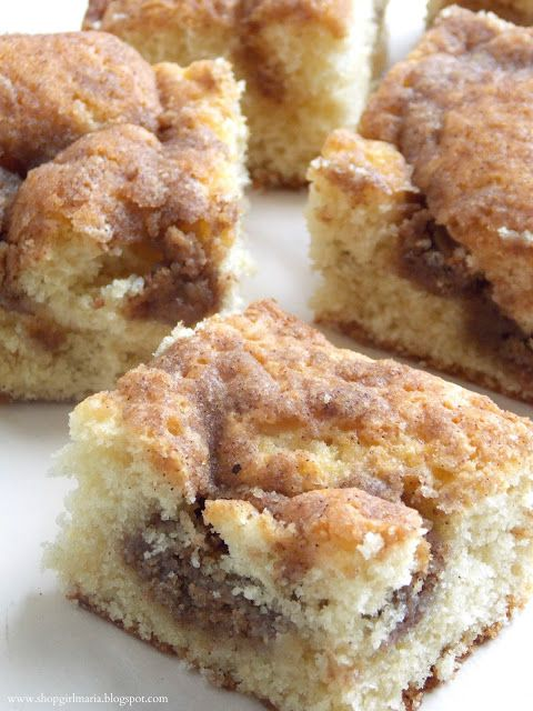 Shopgirl: Cinnamon Coffee Cake will try to double recipe for crowd. Church folks loved it, cut it bite size and there wasn't a morsel left.