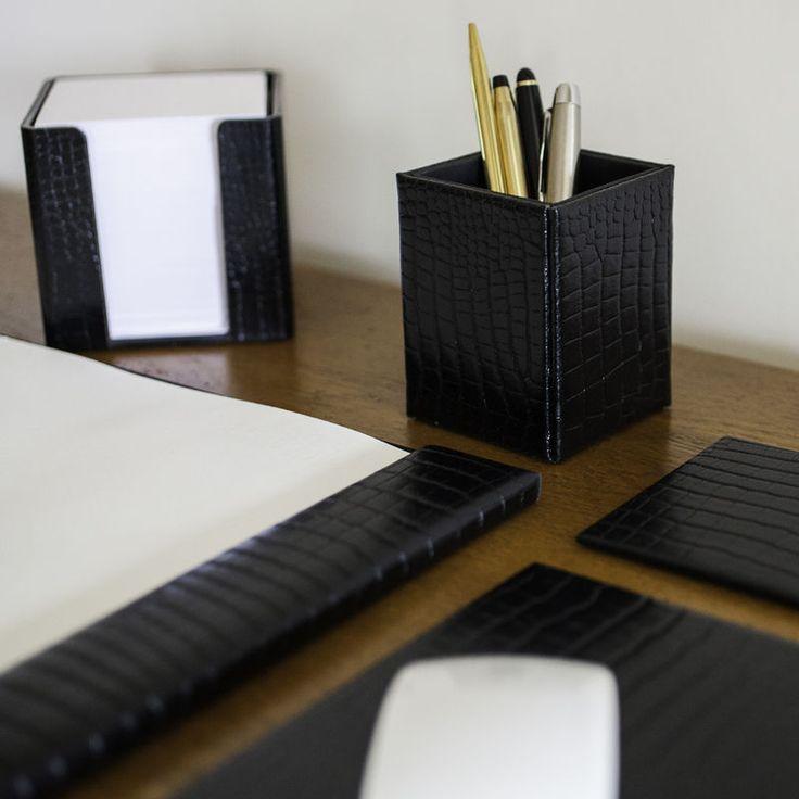 Black Leather Executive Desk Set