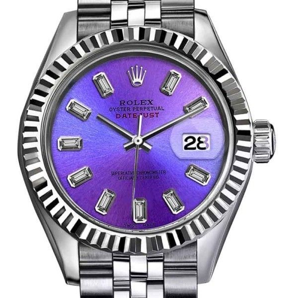 Pre-owned Rolex Datejust Stainless Steel with Purple Dial 26mm Womens... ($3,699) ❤ liked on Polyvore featuring jewelry, watches, neon jewelry, purple watches, dial watches, pre owned jewelry and rolex watches