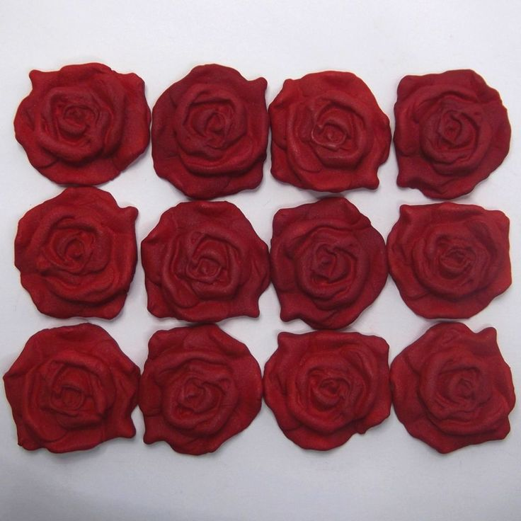 Edible Rose Cake Decoration : Details about 12 Red Pearl Sugar Roses edible ruby wedding ...