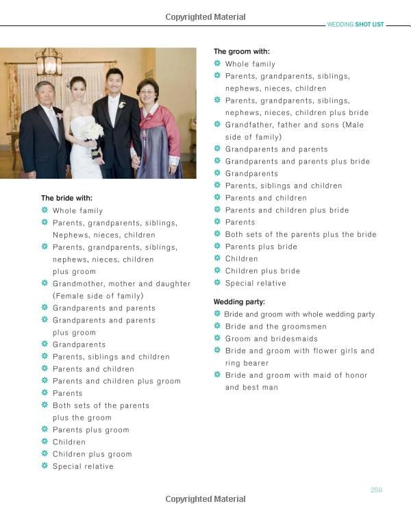 wedding pictures list-helpful to remember.