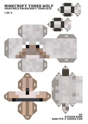 Large papercraft template of tamed wolf Minecraft dog
