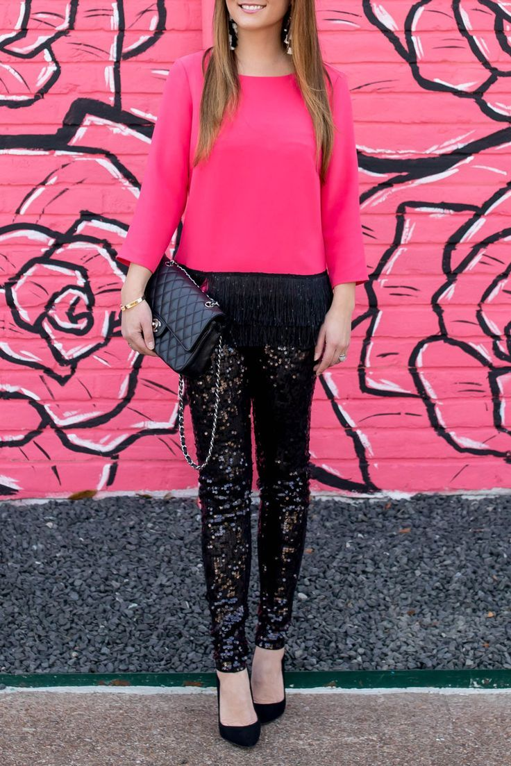 Sail to Sable neon pink fringe top with black sequin leggings, Chanel bag